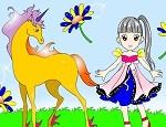 لعبة تلوين الطفلة وحصانها